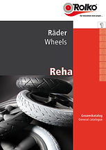 Product group 1 of our rehab catalogue containing wheels with rubber, PU or pneumatic tyre as well as designer and skater wheels