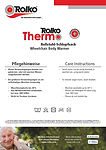 Wash instructions for our body warmer and wrap-up blaket Rolko-Thermo