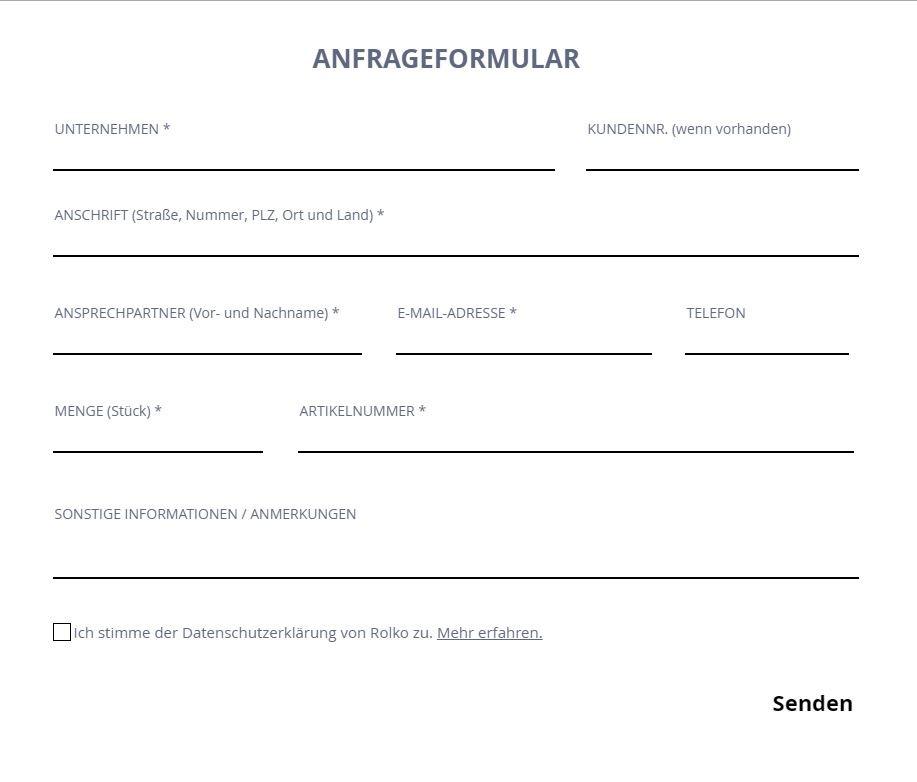 Formular für Produktanfragen