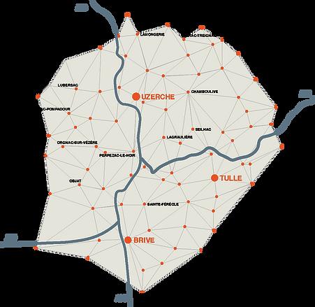 Carte du secteur d'intervention de l'équipe de Prox en Corrèze. Autour d'Uzerche, elles se rendent sur les communes de Saint-Jal, Perpezac-le-Noir, Lagraulière, Seilhac, Le Lonzac, Vigeois, Naves, Tulle, Masseret, Chamberet, Treignac, Lubersac-Pompadour etc. Plus au sud, nous sommes fréquemment en intervention dans l'agglomération de Brive à Objat, Allassac, Beynat, Ayen, Turenne, etc.