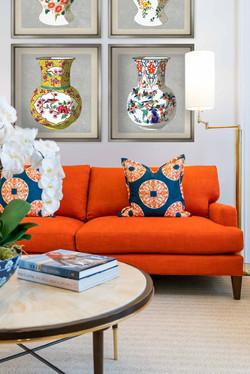 Jeffrey Fisher Home Luxury Interior Design Imagined Home Decor Living Room Orange Sofa