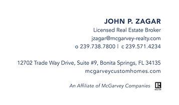 McGarvey Custom Homes Business Cards Bac