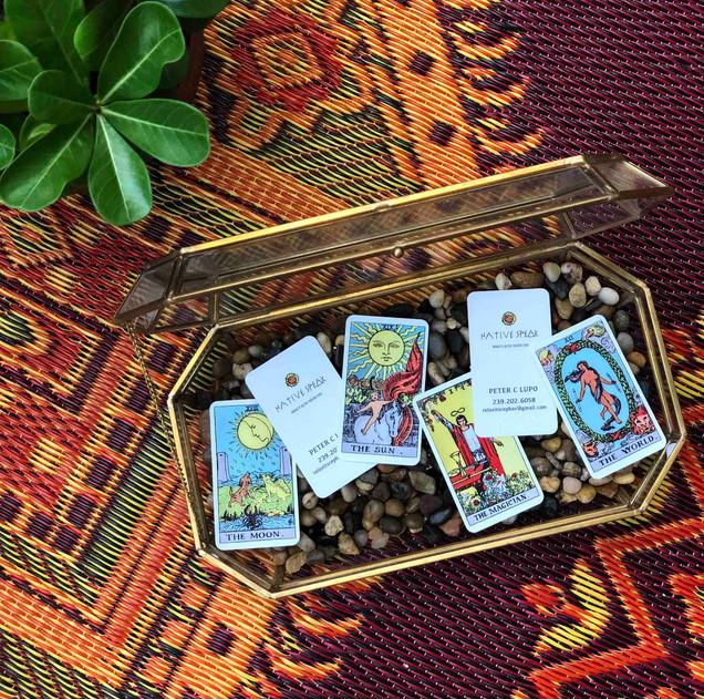tingtang creative Graphic Design Branding Marketing Creative Direction Naples Florida Native Speak Tarot Card Business Cards