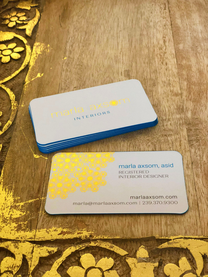 tingtang creative Graphic Design Branding Marketing Creative Direction Naples Florida Gold Foil Business Cards Marla Axsom Interiors