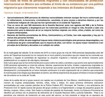 Comunicado Colectivo y Monitoreo de Derechos Humanos en el Sureste Mexicano