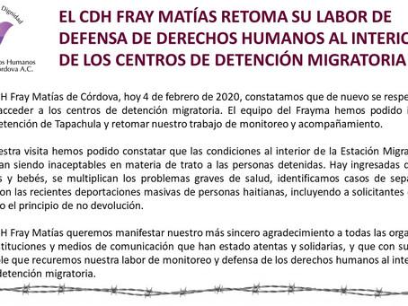 EL CDH FRAY MATÍAS RETOMA SU LABOR DE DEFENSA DE DDHH AL INTERIOR DE LOS CENTROS DE DETENCIÓN