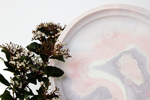 Lilac, Pink & White Marbled Tray