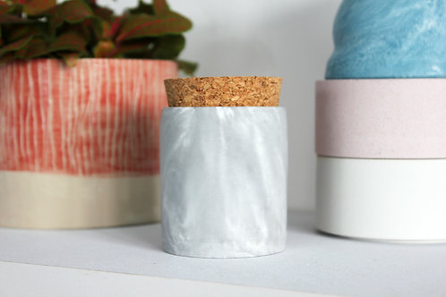 Grey Marble Cylinder Pot