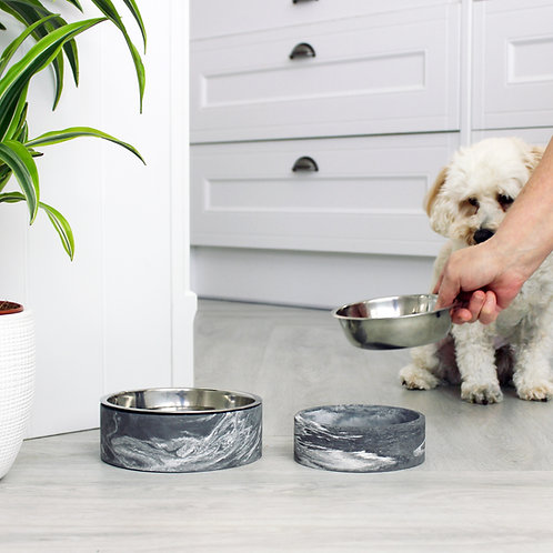 Black & White Marble Pet Bowl