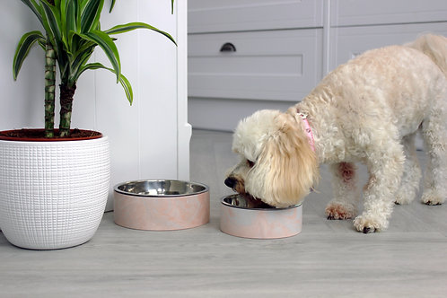 Pink & Grey Marble Pet Bowl