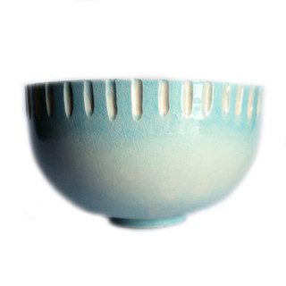 Sea Blue Carved Edge Bowl