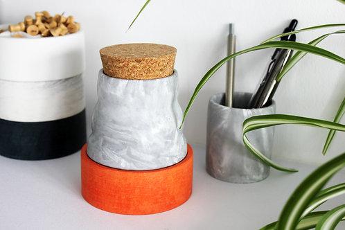 Grey Marble Ripple Pot