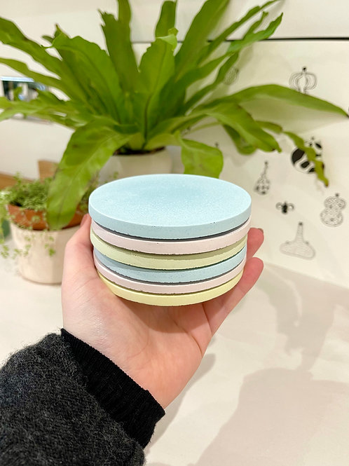 *Perfectly Imperfect* Set of 6 Pastel Rainbow Coasters