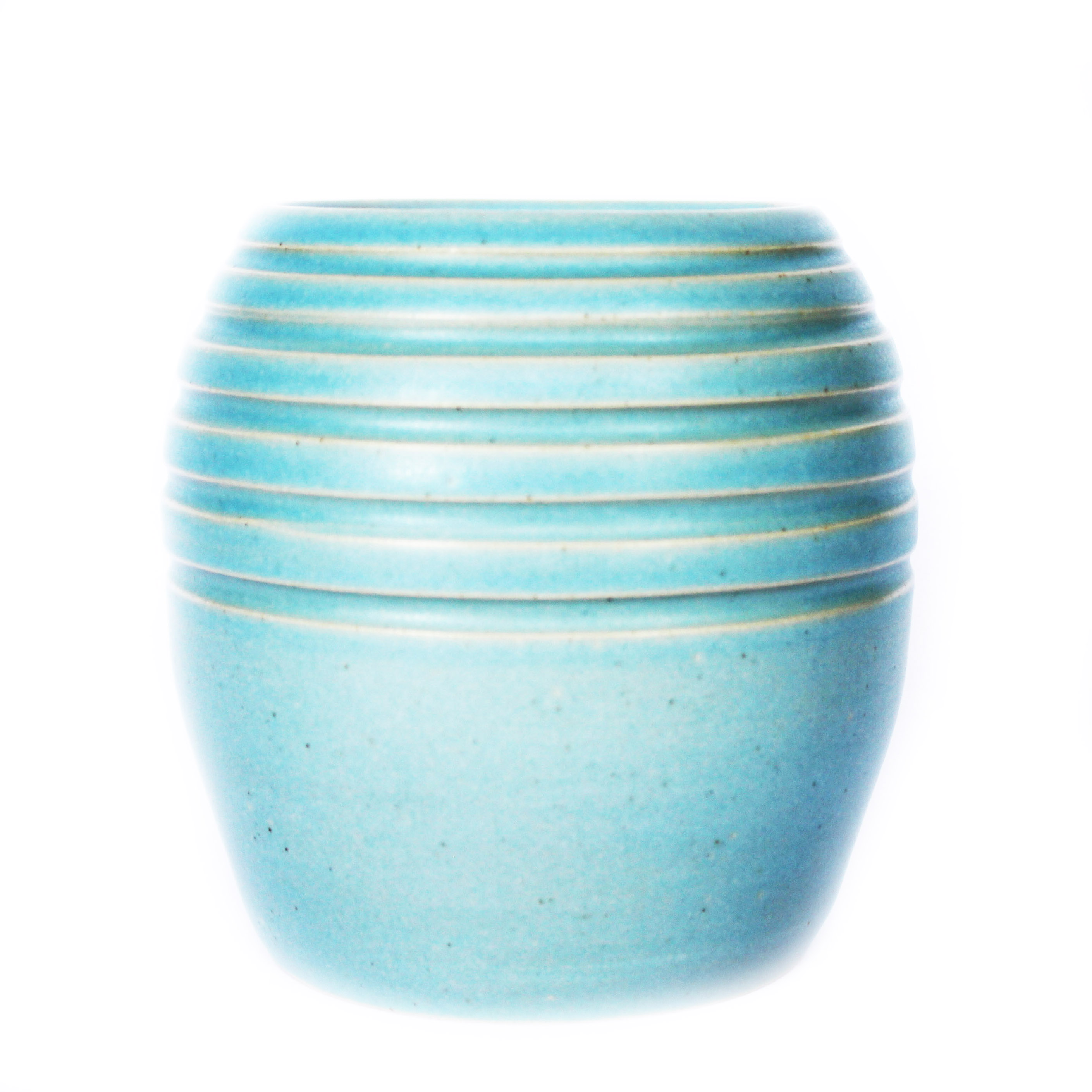 Matt Baby Blue Stripe Planter