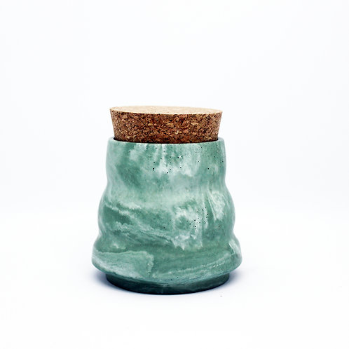 Green Marble Ripple Pot