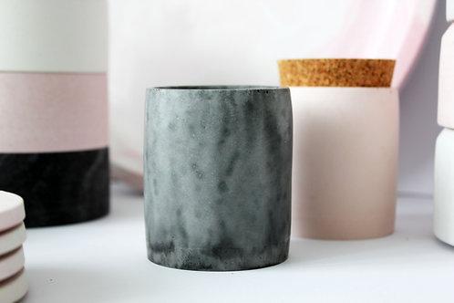 Black Marble Cylinder Pot