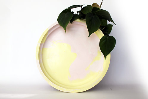 Pastel Pink & Yellow Marbled Tray