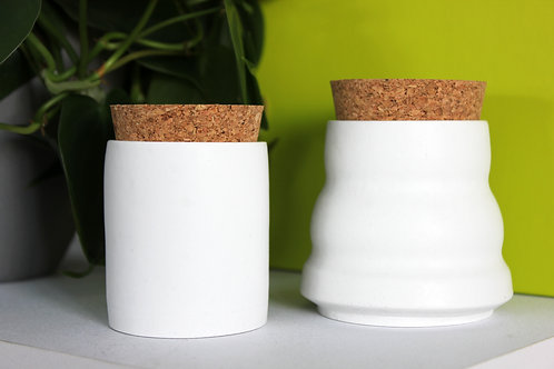 White Cylinder Pot