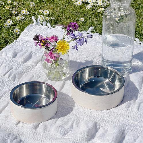 Pale Marble Pet Bowls