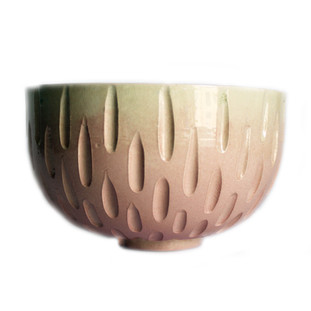 Pink Ombre Carved Bowl