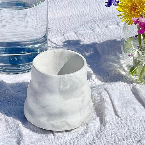 Light Grey & White Ripple Pot