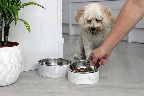 Grey & White Marble Pet Bowl