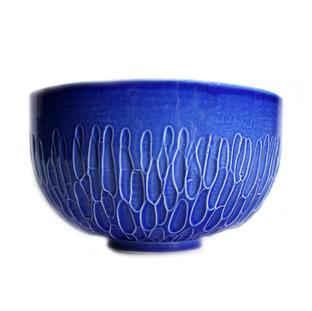 Brighton Blue Carved Bowl