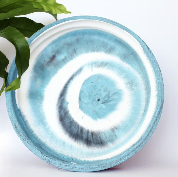 Blue Spiral Marbled Tray