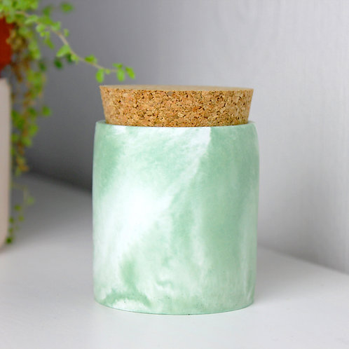 Green Marble Cylinder Pot