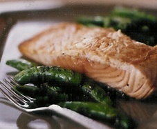 Rich in Omega-3: Pan-Roasted Salmon Served with Minty Snap Peas