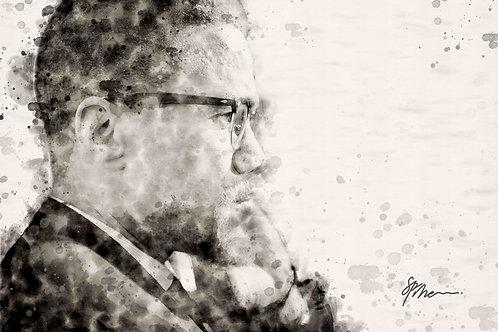 36 x 24 17 mil Artist Mounted Canvas of El-Hajj Malik El-Shabazz / Malcolm X