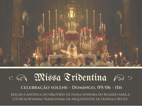 AVISO: Missa Solene de Pentecostes 09/06/2019