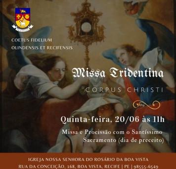 AVISO: Missa e Procissão de Corpus Christi 20/06/2019