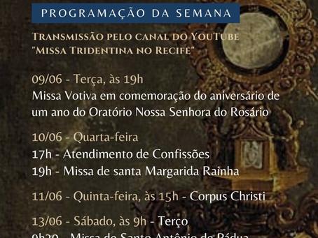 Programação do Oratório 09/06/2020 - 14/06/2020