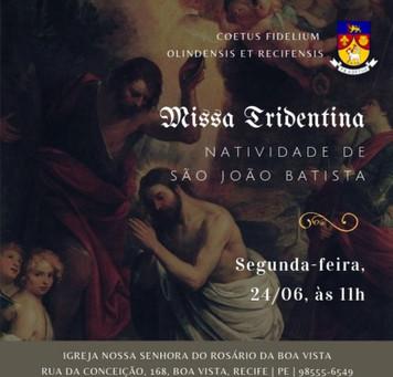 AVISO: Missa da Natividade de São João Batista 24/06/2019