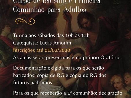 Curso de Batismo e Primeira Comunhão para Adultos - 1º Semestre de 2020