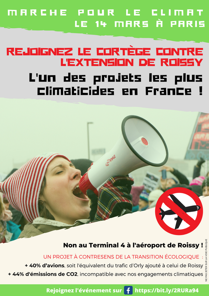 Marche pour le Climat 14 mars PARIS : rejoignez le cortège contre le projet du Terminal 4 à Roissy !