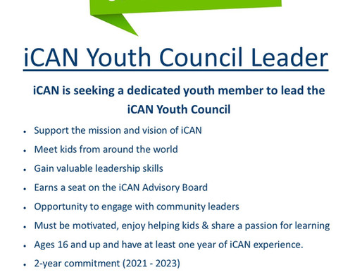 iCAN Is Seeking Candidates for the '21-23 YOUTH COUNCIL CHAIR Position