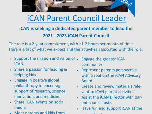 iCAN Seeks New Parent Council Lead for 2021 - 2023