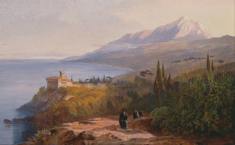 Mount Athos and the Monastery of Stavronikétes by Edward Lear 1857 (wikicommons)