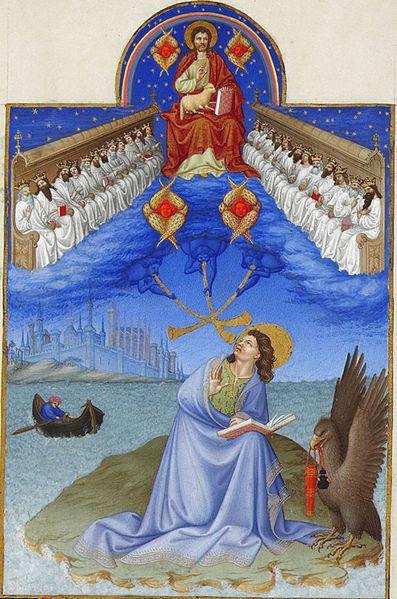 Saint John on Patmos Français : Saint Jean sur l'île de Patmos folio 17, Limbourg brothers [Public domain], via Wikimedia Commons