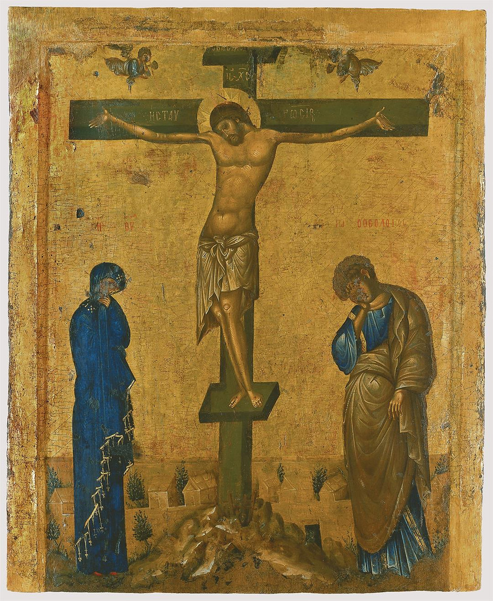 Double-side icon with Crucifixion and Hodegetria (14th century, Byzantine museum) By Anonymous icon painter [Public domain], via Wikimedia Commons