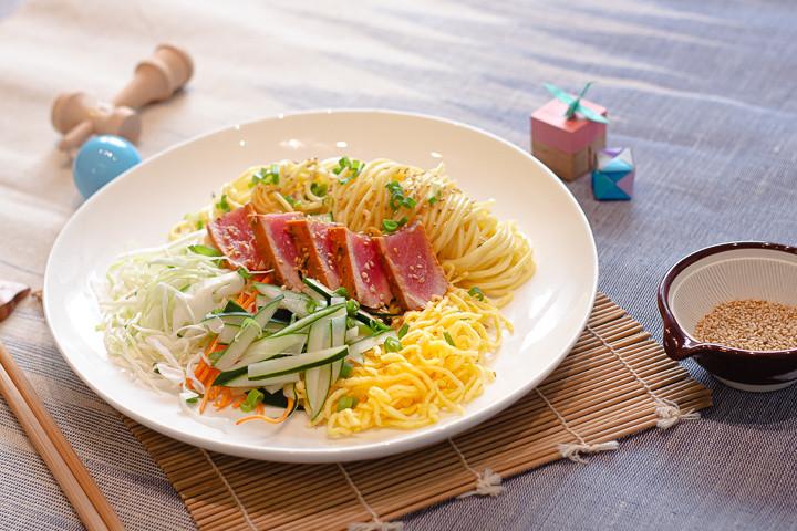 Seared Tuna & Cold Ramen Salad with Sesa