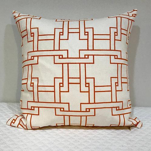 Orange Geo Linen Pillow
