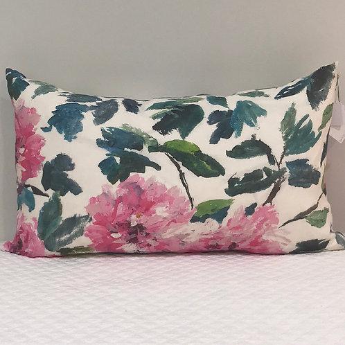 Linen peony pillow