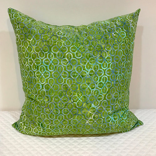 Fun Green & Blue Batik Pillow