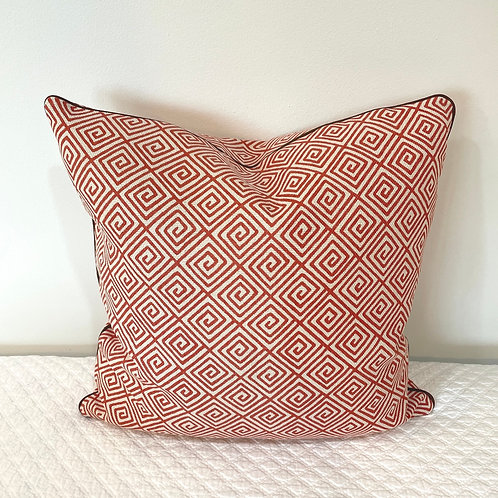 Tomato Linen Greek Key Pillow with Brown Micro Welt