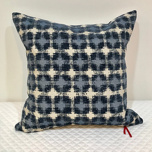 Cut Velvet Pillow - Blue & Cream