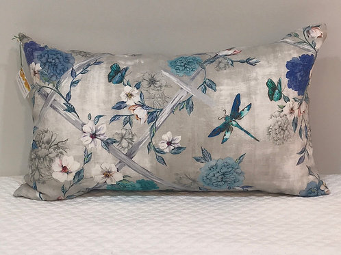 Linen bird and bloom pillow