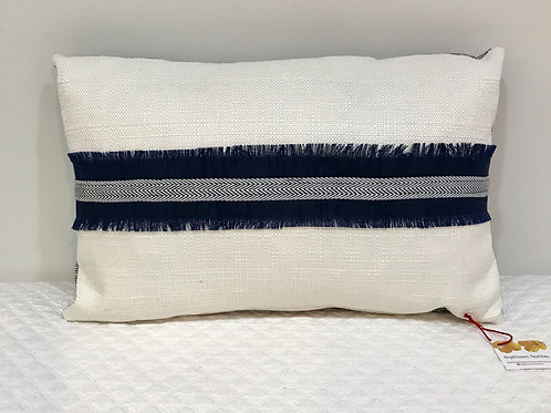 Little Pillow with Blue Fringe Stripe